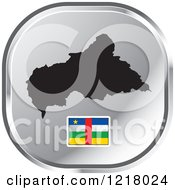 Clipart Of A Silver Central African Republic Map And Flag Icon Royalty Free Vector Illustration