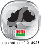 Clipart Of A Silver Burkina Faso Map And Flag Icon Royalty Free Vector Illustration