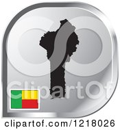 Clipart Of A Silver Benin Map And Flag Icon Royalty Free Vector Illustration