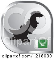 Clipart Of A Silver Pakistan Map And Flag Icon Royalty Free Vector Illustration