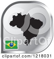 Clipart Of A Silver Brazil Map And Flag Icon Royalty Free Vector Illustration