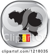 Clipart Of A Silver Belgium Map And Flag Icon Royalty Free Vector Illustration