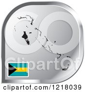 Clipart Of A Silver Bahamas Map And Flag Icon Royalty Free Vector Illustration