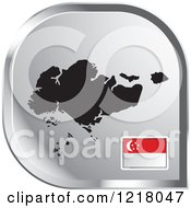 Clipart Of A Silver Singapore Map And Flag Icon Royalty Free Vector Illustration by Lal Perera