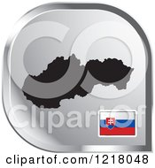 Clipart Of A Silver Slovakia Map And Flag Icon Royalty Free Vector Illustration by Lal Perera