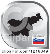 Clipart Of A Silver Slovenia Map And Flag Icon Royalty Free Vector Illustration