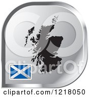Clipart Of A Silver Scotland Map And Flag Icon Royalty Free Vector Illustration by Lal Perera