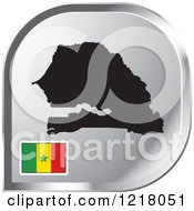Clipart Of A Silver Senegal Map And Flag Icon Royalty Free Vector Illustration by Lal Perera