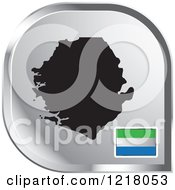 Clipart Of A Silver Sierra Leone Map And Flag Icon Royalty Free Vector Illustration by Lal Perera
