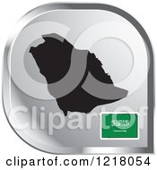 Clipart Of A Silver Saudi Arabia Map And Flag Icon Royalty Free Vector Illustration by Lal Perera