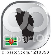 Clipart Of A Silver Dominica Map And Flag Icon Royalty Free Vector Illustration by Lal Perera