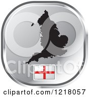 Clipart Of A Silver England Map And Flag Icon Royalty Free Vector Illustration