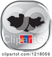 Clipart Of A Silver Mongolia Map And Flag Icon Royalty Free Vector Illustration