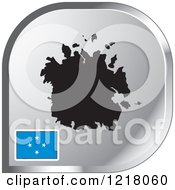 Clipart Of A Silver Micronesia Map And Flag Icon Royalty Free Vector Illustration by Lal Perera