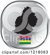 Clipart Of A Silver Mauritius Map And Flag Icon Royalty Free Vector Illustration by Lal Perera