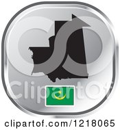 Clipart Of A Silver Mauritania Map And Flag Icon Royalty Free Vector Illustration