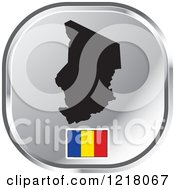 Clipart Of A Silver Chad Map And Flag Icon Royalty Free Vector Illustration by Lal Perera