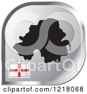 Clipart Of A Silver Northern Ireland Map And Flag Icon Royalty Free Vector Illustration by Lal Perera