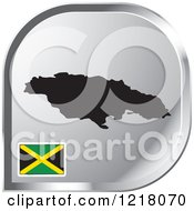 Clipart Of A Silver Jamaica Map And Flag Icon Royalty Free Vector Illustration by Lal Perera