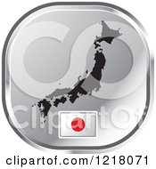 Clipart Of A Silver Japan Map And Flag Icon Royalty Free Vector Illustration by Lal Perera