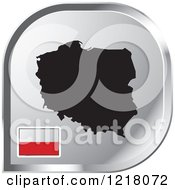 Clipart Of A Silver Poland Map And Flag Icon Royalty Free Vector Illustration