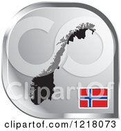 Clipart Of A Silver Norway Map And Flag Icon Royalty Free Vector Illustration by Lal Perera
