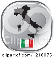Clipart Of A Silver Italy Map And Flag Icon Royalty Free Vector Illustration