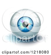 Clipart Of A 3d Blue Eye With Colorful Lights And Reflections On White Royalty Free Vector Illustration