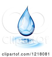 Clipart Of A 3d Blue Water Droplet With Ribbles On White Royalty Free Vector Illustration
