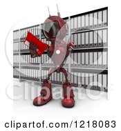Clipart Of A 3d Red Android Robot Reading In An Archive Room Royalty Free Illustration