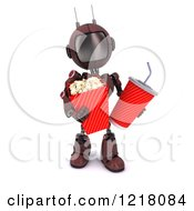 Clipart Of A 3d Red Android Robot Carrying Movie Popcorn And Soda Royalty Free Illustration
