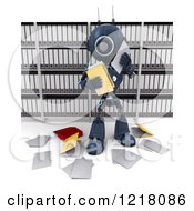 Clipart Of A 3d Blue Android Robot Making A Mess In A Document Filing Room Royalty Free Illustration