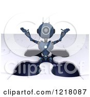 Clipart Of A 3d Blue Android Robot Popping Out Of A Jigsaw Puzzle Opening Royalty Free Illustration by KJ Pargeter