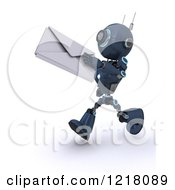 3d Blue Android Robot Running With An Envelope