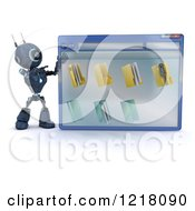 Clipart Of A 3d Blue Android Robot Pointing To A Computer File Window Royalty Free Illustration