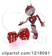 3d Red Android Robot Rolling Dice
