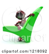 Clipart Of A 3d Red Android Robot With A Check Mark Royalty Free Illustration