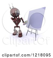 Clipart Of A 3d Red Android Robot Thinking By An Art Canvas Royalty Free Illustration by KJ Pargeter