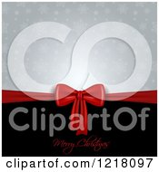 Clipart Of A Merry Christmas Greeting With A Red Gift Bow And Snowflakes Royalty Free Vector Illustration