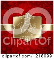 Clipart Of A Merry Christmas Greeting On A Gold Tag Over Red Snowflakes Royalty Free Vector Illustration