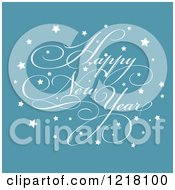 Clipart Of A White Happy New Year Greeting With Stars On Blue Royalty Free Vector Illustration
