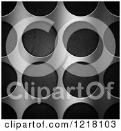 Clipart Of A 3d Brushed Metal Background With Holes Over Perforations Royalty Free Illustration