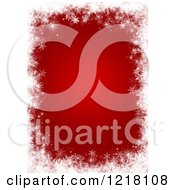 Clipart Of A Red Patterned Background Framed In White Snowflakes And Stars 2 Royalty Free Illustration
