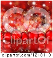 Clipart Of A Row Of Red Christmas Baubles Over Bokeh Flares And Snowflakes Royalty Free Illustration