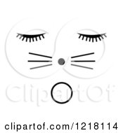 Clipart Of A Black Surprised Cat Face On White Royalty Free Illustration