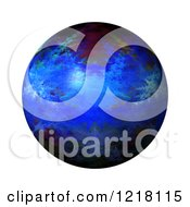 Clipart Of A 3d Blue Fractal Sphere On White Royalty Free Illustration