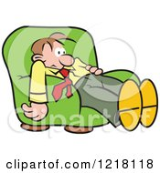 Clipart Of A Dazed Man Slouching In An Arm Chair Royalty Free Vector Illustration by Johnny Sajem