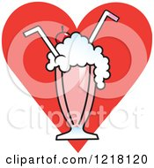Milkshake With Two Straws Over A Red Heart