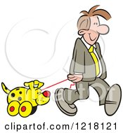 Clipart Of A Happy Man Walking A Toy Dog Royalty Free Vector Illustration