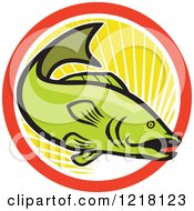 Clipart Of A Green Largemouth Bass Fish In A Circle Of Sunshine Royalty Free Vector Illustration by patrimonio